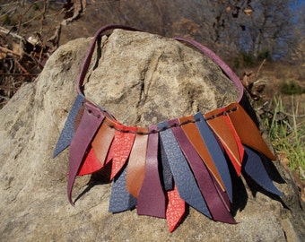 """Handmade Leather necklace """"multicolor"""""""