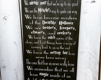 In This House, We do Harry Potter, We Do Geek, Wooden Sign, Hand Painted, 12x24