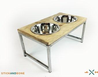 industrial dog dish elevated dog feeder rustic dog bowl raised pet feeder