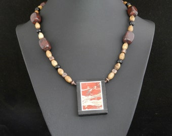 Natural Bone and Red Jasper Necklace
