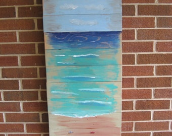Large Seascape Abstract Seascape Wood Seascape Ocean Painting Beach Decor