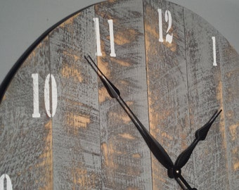 """30"""" Large Rustic Wall Clock. Made from rough cut lumber. Distressed and finished to give it that barnwood / reclaimed lumber look."""