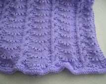 Knitted Lavender Crib Blanket Handmade Cables and Crowns Baby Afghan Light Purple Lap Throw Infant Wrap