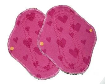 Heart bamboo cloth pads, normal, mama pads, 2 pcs