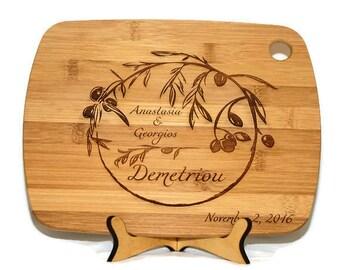 Olive branch cutting board, Mediterranean decor, Italian kitchen, Greek Wedding Gift, Grecian Kitchen, 5th Anniversary, Olive kitchen