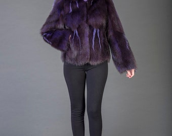 Luxury gift/Purple Opossum  fur Coat/Hooded/Fur jacket full skin / Wedding,or anniversary present