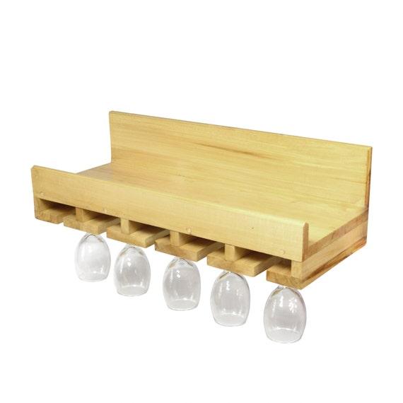 Wine Glass Holder Rack 6 Natural Wood Kitchen Bar Organizer