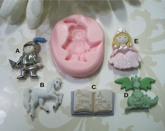 Princess Mold - Knight Mold - Dragon Mold - Story Book Mold - Flexible Molds - Food Safe Molds - Silicone Molds - Craft Molds - Fondant Mold