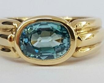 14k natural blue zircon ring