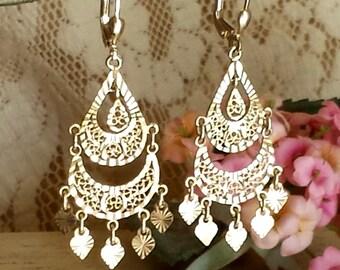 Solid 14k Filigree Chandelier Earrings Filigree 14k Dangle Earrings