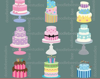 Cakes Clipart, Cake Clip Art, Cake Tiers Clipart, Birthday Cakes, Wedding Cakes, Baking Clipart, Instant Download Cakes, Digital Cakes
