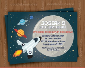 Outer Space Invitations, Outer Space Invitation Cards, Outer Space Printables, Outer Space Party, Planets Printables, Rocket Invitation