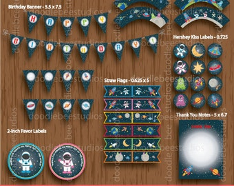 Outer Space Party Package, Outer Space Party Package, Outer Space Party Printables, Instant Download Outer Space Party Pack