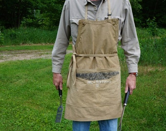 Handmade Apron,Made From Authentic US Military World War II Sleeping Bag Cover,Skullery Apron,Historian Apron,Father's Day Gift,Canvas Apron