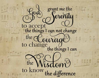 Serenity Prayer SVG, Recovery SVG, Let Go Let God, Cricut Designs Space, Cameo Silhouette, SVG, Pray svg, ai, eps, dfx svg, png