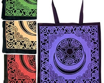 Moon & Pentacle Tote Bag (your choice of color)