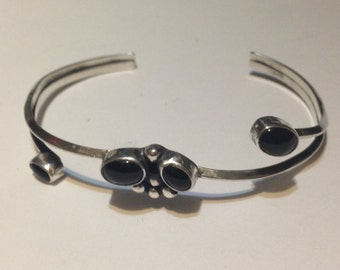 2 1/4 inch wide sterling silver and onyx cuff bracelet