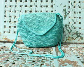 Vintage Woven Turquoise Straw Crossbody Bag Purse Vintage 1990s