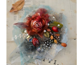 Autumn Winter Rose Brooch Victorian Shabby Chic Boho By Petal Poetry