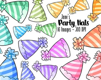 Party Hats Clipart - Birthday ClipArt - Instant Download - Multicolored Birthday Party Hat Scrapbook Supplies