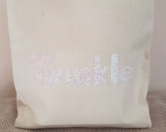 White Twinkle canvas tote shoulder bag