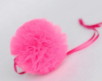 Hot pink tulle pompom / wedding party decorations pom poms