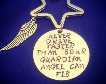 Driver's guardian angel key ring. Motorist's key ring.