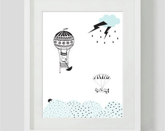 Childrens print - Flying mouse airballoon print - childrens Room Decor / Nursery Art Print / Childrens Interior Design