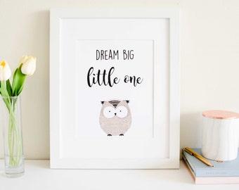 Dream Big Little One - Woodland Owl Print