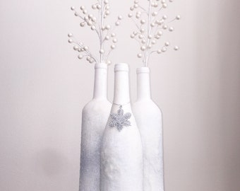 Snow Covered Wine Bottle Trio