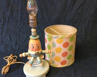 Vintage Blue Humpty Dumpty Sat on a Wall Nursery Lamp with Polka Dot Shade