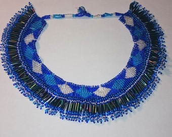 South African Royal Blue Beaded Necklace