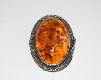 Large Vintage Sterling Silver and Amber PIN Broach