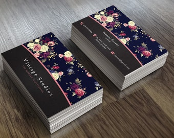 Vintage Floral | Business Card Template | 2-Sided