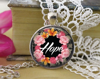 Hope Jewelry Teenager Hope  Pendant Glass Tile Pendant Inspirational Positive Jewelry Gift Inspirational Silver Necklace Teenager Gift