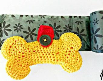 Bag holder crochet dog