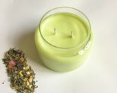 Green Tea and Lemongrass Candle/ 8oz glass/ refillable/ natural Soy Wax Candle/ relaxation candle