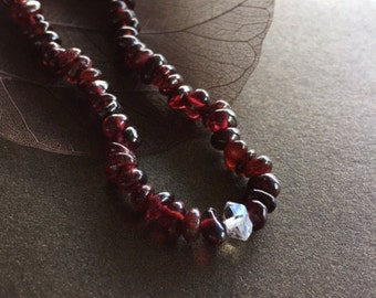 Garnet and Herkimer Diamond Bracelet