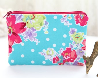 Blue Flowers Makeup Bag, FREE SHIPPING with another purchase, Makeup Case, Makeup Pouch, Small Purse, Zippered Purse, Cosmetic Case Bag