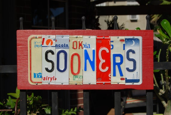 Oklahoma SOONERS - license plate sign, OU
