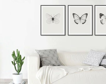 Butterflies prints, Set of prints, Minimalist, Scandi, Modern art, Wall art, Digital art, Printable, Digital poster Instant Download 16x20