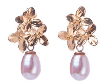 Gold flower earrings with purple pearl
