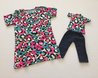 "18"" Doll or American Girl Doll Matching shirts for American Girl Doll & Child (Blue Animal Print)"