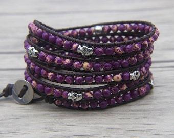 Purple jasper bead wrap bracelet skull bead bracelet Purple wrap bracelet skull leather bracelet yoga bracelet wrap bracelet Jewelry SL-0487