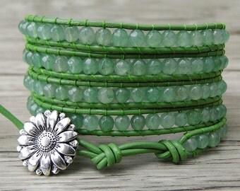 Beaded wrap bracelet 5 wraps bracelet Green Aventurine beads bracelet yoga leather wrap bracelet boho beaded bracelet beads Jewelry SL-0219