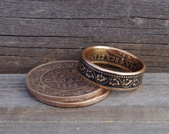 Large Canadian One Cent Coin Ring - Copper