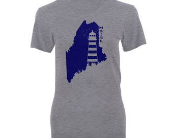 Women's Maine State Lighthouse Shirt - Women's Maine State Lighthouse T-shirt.