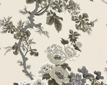 Wallpaper-Schumacher PYNE HOLLYHOCK Double Rolls Charcoal/Indigo/Tobacco/Grisaille