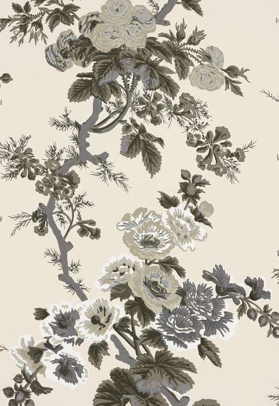 Wallpaper schumacher pyne hollyhock double rolls charcoal for Schumacher chenonceau charcoal wallpaper