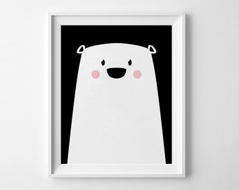 Cute Bear Print, Printable Poster, Polar Bear, Scandinavian Nursery, Nursery Print, Bear Nursery, Bear Print, Minimalist Print, Cute Print